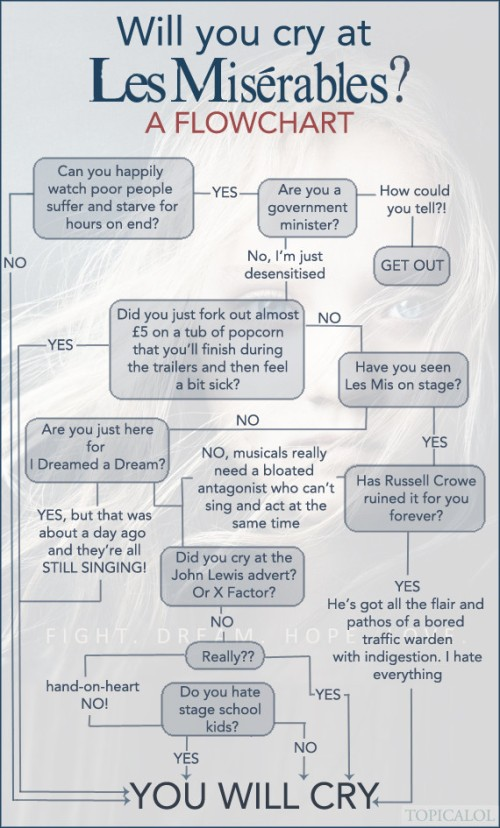 Will you cry at  Les Misérables - A Flowchart