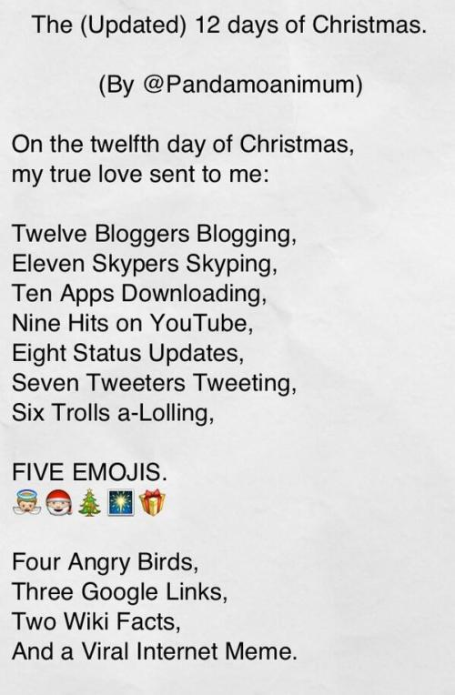 The (Updated) 12 Days of Christmas.